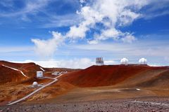Observatories on top of Mauna Kea mountain peak. Astronomical research facilities and large telescope observatories located at the. Summit of Mauna Kea on the Stock Photography