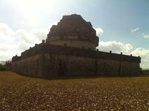 Observatorium of the ancient Maya Chichen Itza (2). This ancient observatorium or planetarium of the Maya is on the Peninsula Yucatan in Mexico. inside it is royalty free stock image