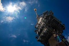 Observatorium auf titlis mit Sonne Lizenzfreie Stockfotografie