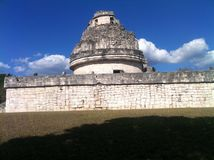 Observatorium of the Maya Chichen Itza (3). This ancient observatorium or planetarium of the Maya is on the Peninsula Yucatan in Mexico. inside it is built stock image