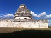 Observatorium of the Maya Chichen Nitza. This ancient observatorium or planetarium of the Maya is on the Peninsula Yucatan in Mexico. inside it is built inside royalty free stock photo