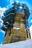 Observatorium på titlis med solen Arkivfoto