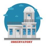 Observatoriumbyggnad på natten med teleskopet royaltyfri illustrationer