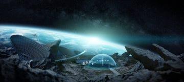 Observatoriumstation in den Wiedergabeelementen des Raumes 3D dieses Bildes Lizenzfreies Stockfoto