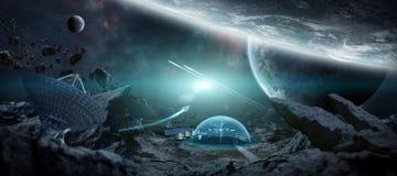 Observatoriumstation in den Wiedergabeelementen des Raumes 3D dieses Bildes Stockbilder
