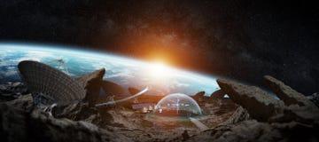 Observatoriumstation i tolkningbeståndsdelar för utrymme 3D av denna bild Royaltyfri Foto