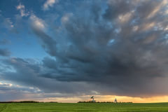 Observatory antennas and stormy clouds in HDR Royalty Free Stock Images