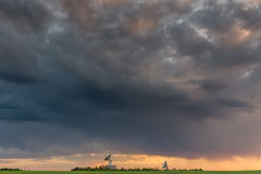 Observatory antennas and stormy clouds in HDR Royalty Free Stock Photos