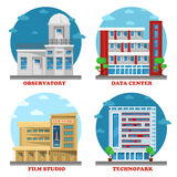 Observatory building and movie studio architecture. Technopark facade and data center or centre building. May be used for set of buildings or structure Stock Image