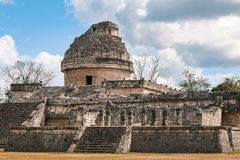 The Observatory at Chichen Itza, Mexico stock images