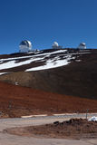 Observatory domes at the peak of Mauna Kea volcano Royalty Free Stock Image