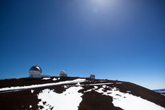 Observatory domes at the peak of Mauna Kea volcano Royalty Free Stock Images