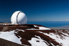 Observatory domes at the peak of Mauna Kea volcano Stock Photography