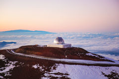 Observatory in Hawaii at sunset Royalty Free Stock Image