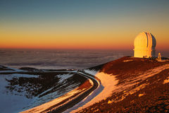 Observatory in Hawaii at sunset Stock Photos