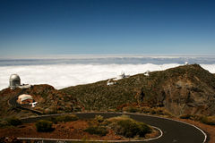 Observatory in La Palma. Lanscape showing a series of observatories in La Palma Royalty Free Stock Photo