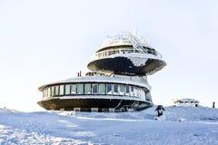 Observatory meteorological on Sniezka mountain in Polish mountains Karkonosze,winter time. stock photo
