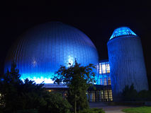 Observatory at night. Blue lit up at night Berlin Observatory Stock Photos