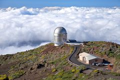 Observatory over clouds Royalty Free Stock Image