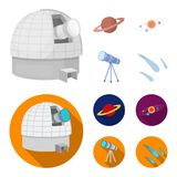 Observatory with radio telescope, planet Mars, Solar system with orbits of planets, telescope on tripod. Space set. Collection icons in cartoon,flat style Royalty Free Stock Photos