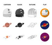 Observatory with radio telescope, planet Mars, Solar system with orbits of planets, telescope on tripod. Space set. Collection icons in cartoon,black,outline Royalty Free Stock Images