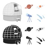 Observatory with radio telescope, planet Mars, Solar system with orbits of planets, telescope on tripod. Space set. Collection icons in cartoon,black style Royalty Free Stock Photos