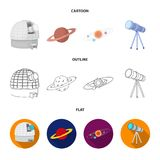 Observatory with radio telescope, planet Mars, Solar system with orbits of planets, telescope on tripod. Space set. Collection icons in cartoon,outline,flat Stock Images