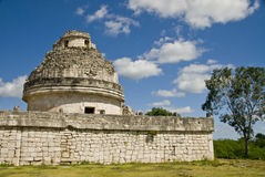 Observatory Ruins at Chichen Itza Mexico. Tourist stop at the ancient observatory ruins in Chichen Itza Mexico Royalty Free Stock Images