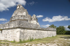 Observatory Ruins at Chichen Itza Mexico. Tourist stop at the ancient observatory ruins in Chichen Itza Mexico Royalty Free Stock Photos