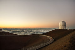 Observatory by sea. Scenic view of observatory by sea at sunset royalty free stock photos