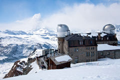 Observatory station Matterhorn Switzerland. The Gornergrat Observatory and Matterhorn peak, Zermatt Switzerland stock photo