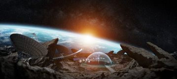 Observatory station in space 3D rendering elements of this image Royalty Free Stock Photo