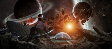 Observatory station in space 3D rendering elements of this image Royalty Free Stock Images