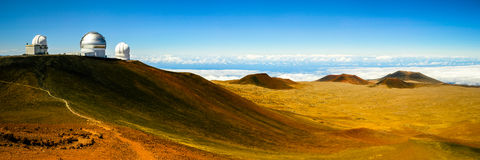 The Observatory. A stitched panorama of the Keck observatory on Mauna Kea Royalty Free Stock Photography