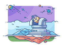 Observatory with telescope. For exploring planets and searching for extraterrestrial civilizations. Vector illustration Stock Images