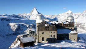 Observatory on top of matterhorn. This is a science picture relevant to observatory on top of matterhorn view Royalty Free Stock Images