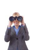 Observe it !!. Closeup portrait of a Business Woman using binoculars Stock Photography