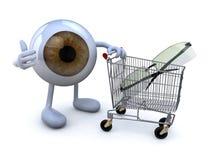 Observe con los brazos y las piernas y carro de la compra con las lentes Imagen de archivo