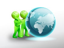 Observe the earth. Green man persons observe a shiny globe; preserve our universe concept Stock Image
