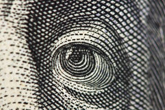 Observe en el billete de banco del dólar los E.E.U.U., macro Fotos de archivo libres de regalías