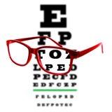 Observe la carta de prueba de la visión vista a través de los vidrios del ojo, fondo blanco Foto de archivo libre de regalías