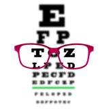 Observe la carta de prueba de la visión vista a través de los vidrios del ojo, fondo blanco Foto de archivo