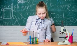 Observe las reacciones químicas Reacción química mucho más emocionante que teoría Muchachas que trabajan el experimento químico t fotografía de archivo