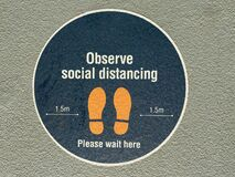 Observe Social Distancing Sign On City Street Royalty Free Stock Photo
