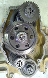 We observe the transmission disarmed. Unarmed transmission, image hosting and gear train is observed Stock Image