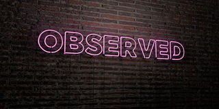 OBSERVED -Realistic Neon Sign on Brick Wall background - 3D rendered royalty free stock image. Can be used for online banner ads and direct mailers vector illustration