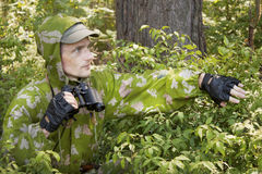 The observer in the woods Royalty Free Stock Image