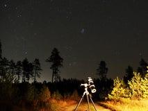 Observig delle stelle del cielo notturno sopra il vluster di Plaiades SAR del telesocpe fotografia stock
