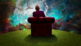 Observing the Angels. Surreal composition. Man sits in red armchair and observes angels  in vivid sky. Human elements were created with 3D software and are not Royalty Free Stock Images
