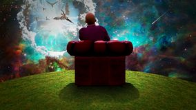 Observing the Angels. Surreal composition. Man sits in red armchair and observes angels  in vivid sky. Human elements were created with 3D software and are not Stock Images